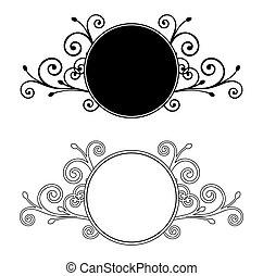 decorativo, floral, frames., vector, ilustración