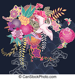 decorativo, floral, kimono, motivo
