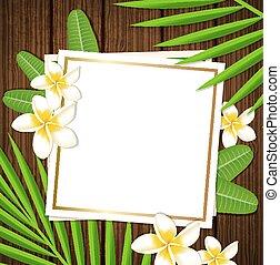 decorativo, floral, marco, con, flores tropicales