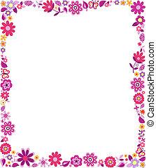 decorativo, floral, marco, patrón
