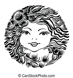 decorativo, floral, mulher, silueta, rosto