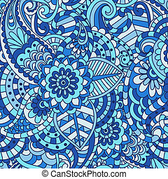 decorativo, floral, ornamental, seamless, padrão