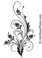 decorativo, floral, ornamento
