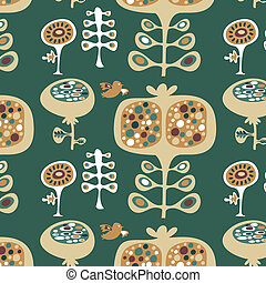 decorativo, floral, padrão papel parede