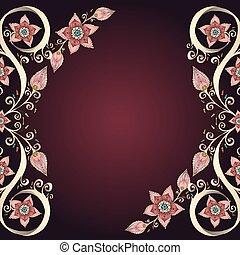 decorativo, floral, plano de fondo, con, flowers.