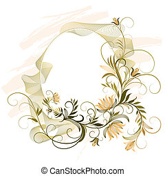 decorativo, floral, quadro, ornamento