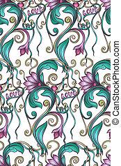 decorativo, floral, seamless, padrão