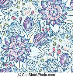 decorativo, floral, seamless, patrón, con, aves