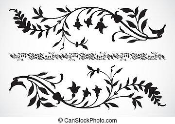 decorativo, floral, vector, ornamentos