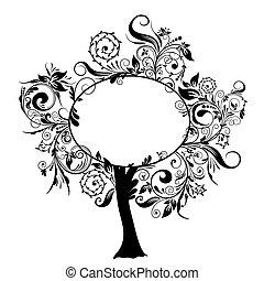 decorativo, floral, vetorial, árvore