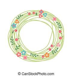 decorativo, floral, wreath., nido, de, hierbas, flores, y,...