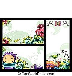 decorativo, floreale, bandiere, 1