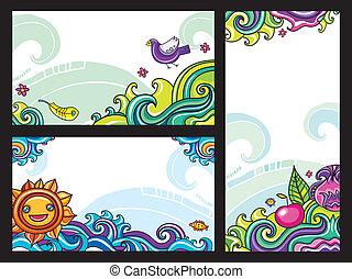 decorativo, floreale, bandiere, 2