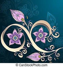 decorativo, floreale, fondo, con, flowers.