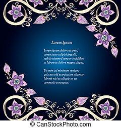 decorativo, floreale, fondo, con, flowers., fiori retro, vettore, illustration., perfetto, per, inviti, o, announcements.