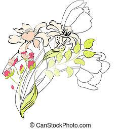 decorativo, floreale, fondo