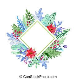 decorativo, floreale, inverno, cornice