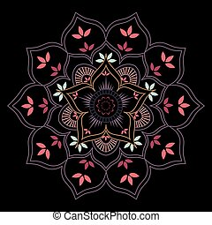 decorativo, floreale, mandala, con, foglie, e, petali