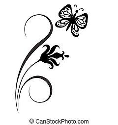 decorativo, floreale, ornamento, angolo
