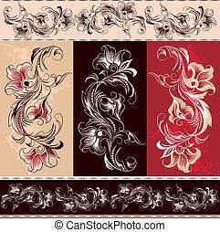 decorativo, floreale, ornamento, elementi