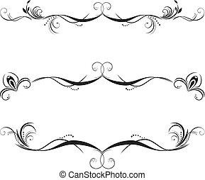 decorativo, floreale, profili di fodera, tre