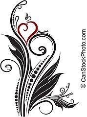 decorativo, floreale, ramo, con, cuore rosso