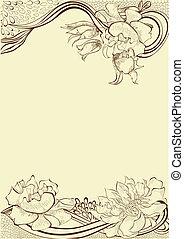 decorativo, floreale, sagoma, scheda