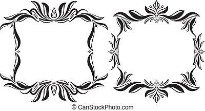 decorativo, floreale, vettore, paio, frame.
