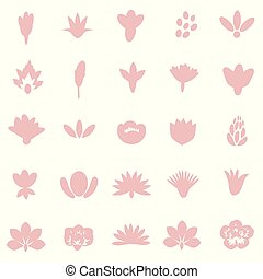 decorativo, flores, conjunto