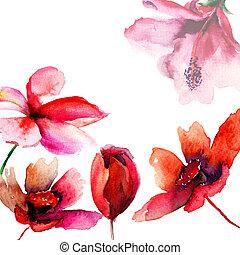 decorativo, flores salvajes