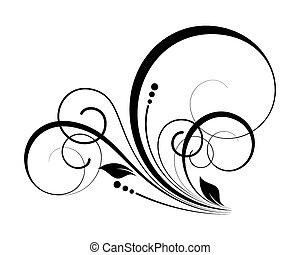 decorativo, florescer, redemoinho, elementos