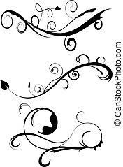 decorativo, flourishes, jogo, 3