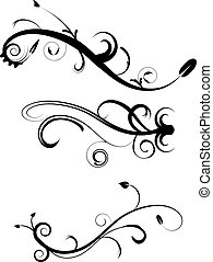 decorativo, flourishes, set, 2