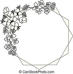 decorativo, foglia, cornice, illustrazione, vettore, floreale, scheda
