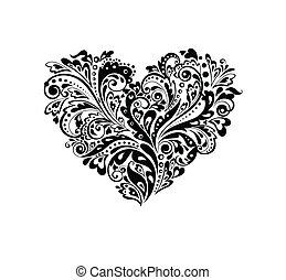 decorativo, forma coração, w, (black