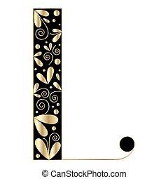 decorativo, forma., l, letra, fonte, tipo