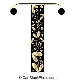 decorativo, forma., t, letra, fonte, tipo