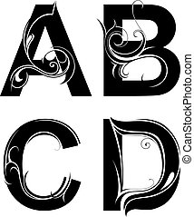 decorativo, formas, carta