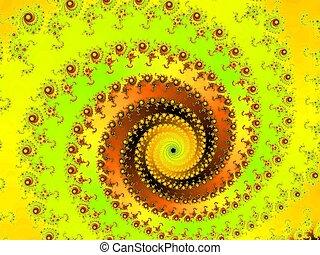 decorativo, fractal, espiral
