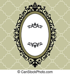 decorativo, frame oval, vindima