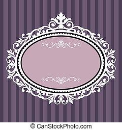 decorativo, frame oval, vindima