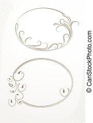 decorativo, frame., paio, vettore, floreale, ovale