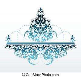 decorativo, fuente, forma