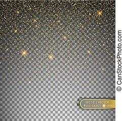 decorativo, glitters., ouropel, dourado, festivo, isolado, cintilante, transparente, partículas, experiência., vetorial, ilustração, estrelas, elemento, confetti, queda, feriado, brilhante, texture., design.