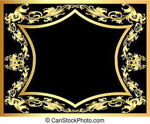 decorativo, gold(en), modello, cornice, sfondo nero