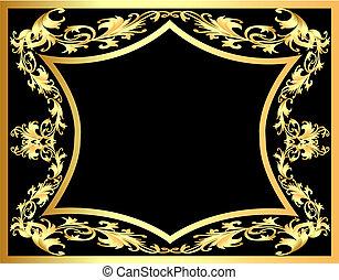 decorativo, gold(en), padrão, quadro, experiência preta