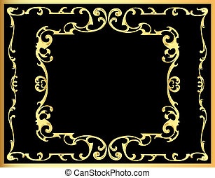 decorativo, gold(en), padrão, quadro, fundo, vindima