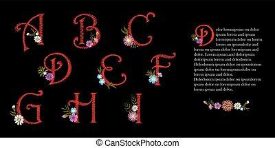 decorativo, gota, letras, ornate, desenho, sinais, vindima, set., inicial, flowers., bordado, vermelho, ilustração, floral, c, b, mercado de zurique, d, g, f, h, boné, vetorial, alfabeto