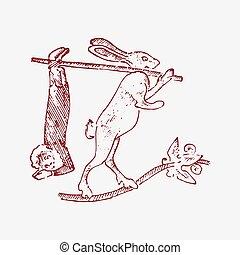 decorativo, gothical, vecchio, medievale, elemento, pezzo, ornamento, illustrazione, mano, simboli, età media, chimera, coniglio, mani, disegnato, inciso, uomo