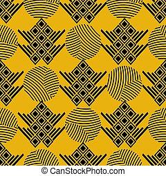 decorativo, gráfico, eps10, illustration., elements., povo, tribal, pattern., seamless, amarela, geométrico, tradicional, impressão, vetorial, experiência preta, desenhado, étnico, motifs., mão